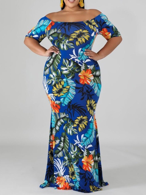 Plus Size Print Short Sleeve Off Shoulder Bodycon Women's Dress