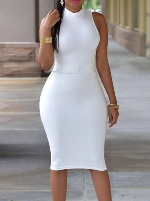 Stand Collar Sleeveless Pullover Women's Bodycon Dress