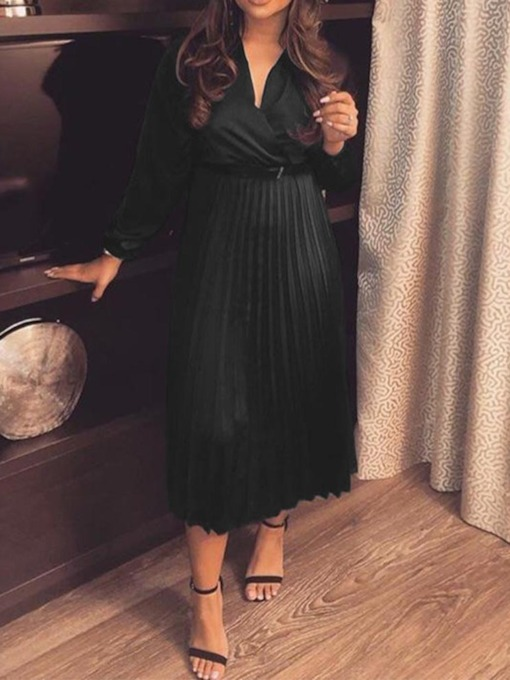 V-Neck Pleated Long Sleeve Pullover Women's Maxi Dress