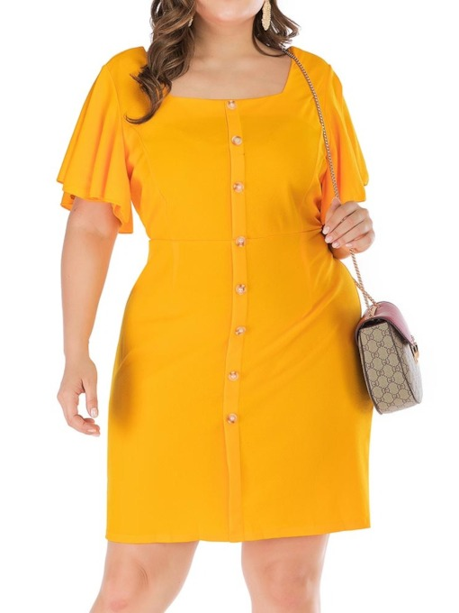 Plus Size Short Sleeve Square Neck Single-Breasted Women's Dress