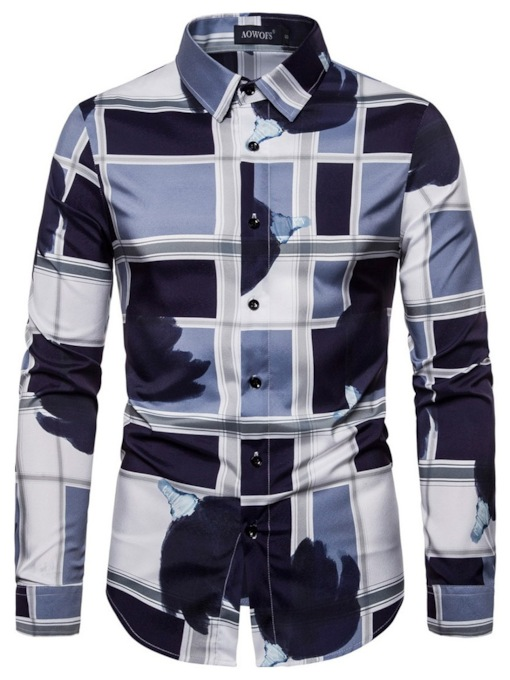 Casual Fashion Geometric Pattern Printing Button Color Block Lapel Slim Men's Shirt