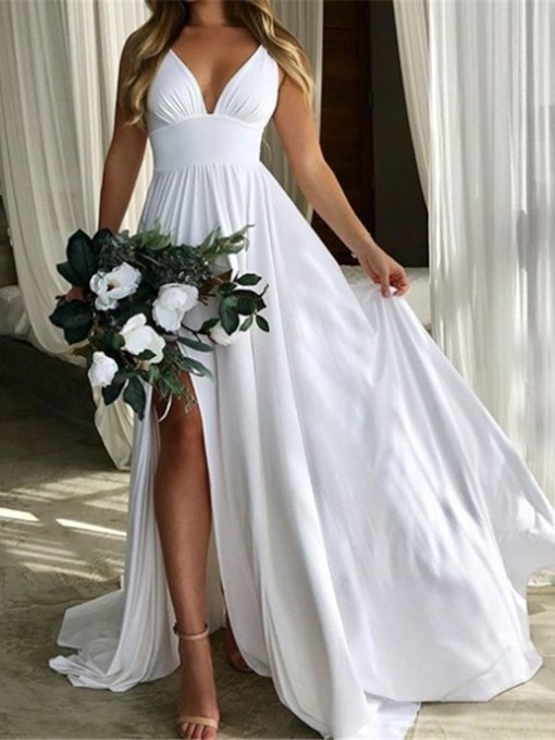 Straps Empire Waist Split-Front Beach Wedding Dress 2019
