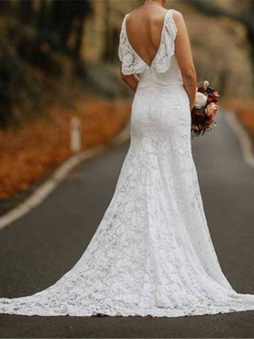 Spaghetti Straps Ruffles Backless Lace Wedding Dress 2019