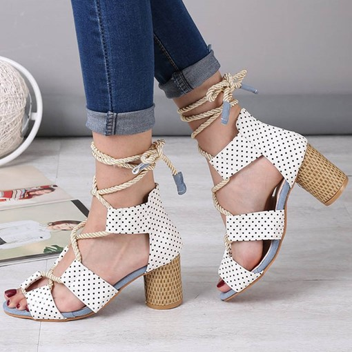 Heel Covering Open Toe Lace-Up Chunky Heel Cross Strap Sandals
