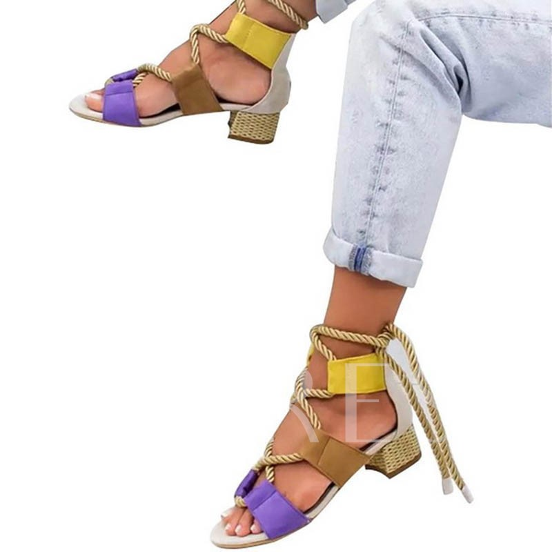Open Toe Heel Covering Lace-Up Chunky Heel Cross Strap Sandals