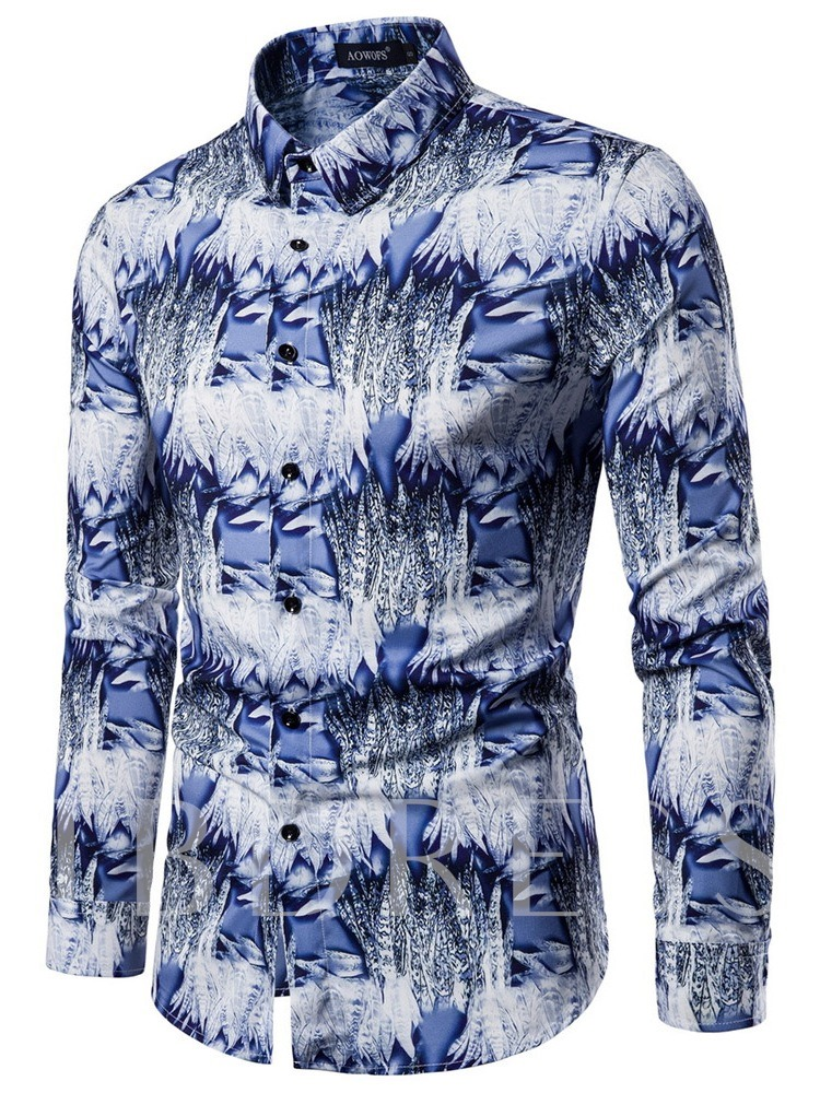 Fashion Lapel Long Sleeves Color Block 3D Floral Print Single-Breasted Men's Shirt