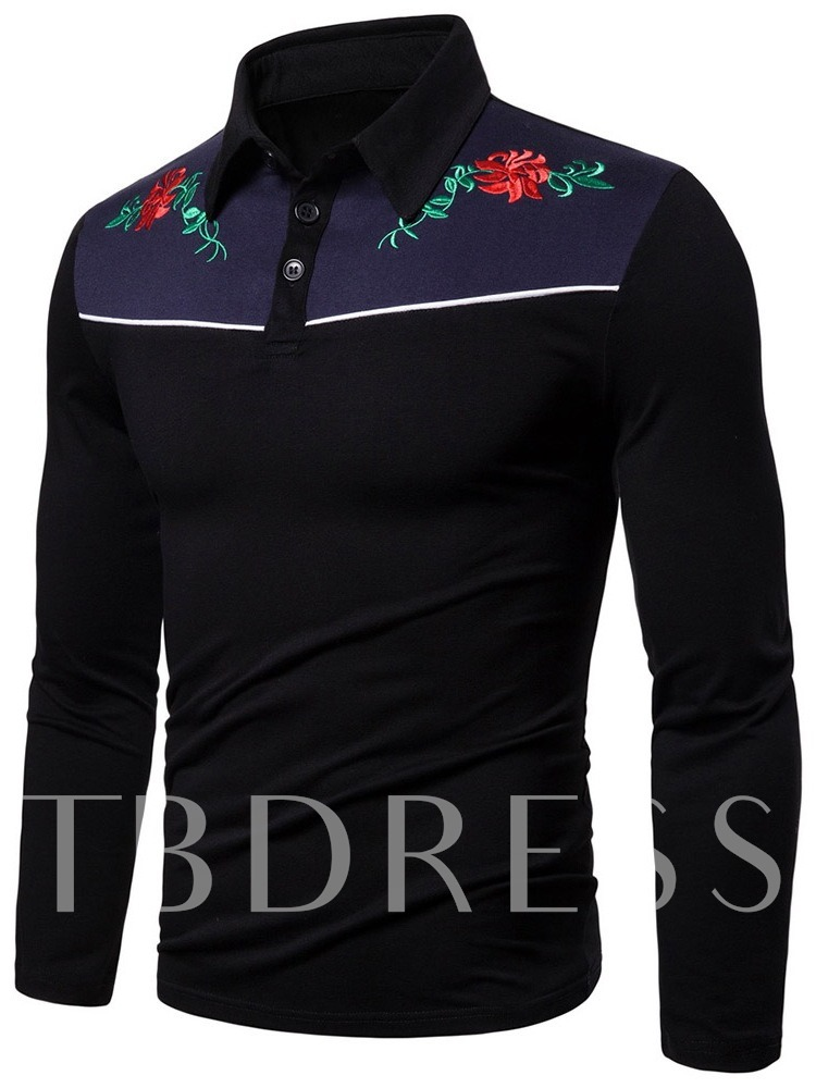 Embroidery Plant Print Casual Fashion Floral Polo Neck Men's Long Sleeves Polo Shirt