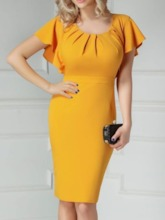 Short Sleeve Pleated Knee-Length Round Neck Women's Bodycon Dress