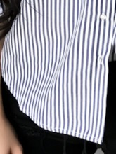 Regular Stripe Print Off Shoulder Three-Quarter Sleeve Women's Blouse