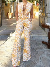 Color Block Print Full Length High Waist Women's Jumpsuit