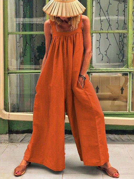 Plain Full Length Strap Casual Loose Women's Jumpsuit