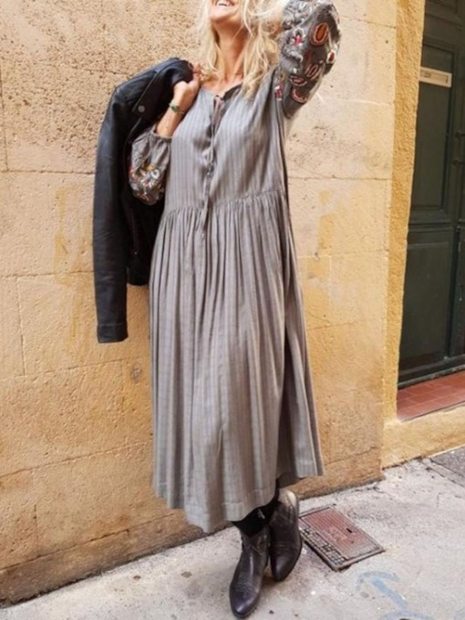 Long Sleeve Round Neck Pleated Mid-Calf Fall Women's Maxi Dress