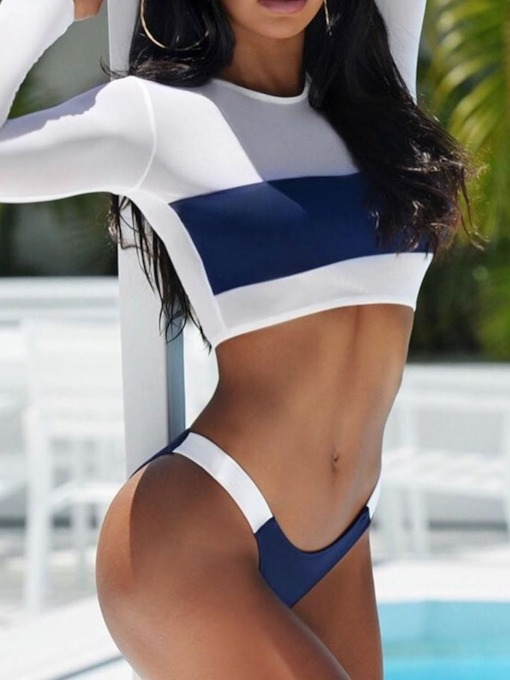 Color Block Tankini Set Sexy Women's Swimwear