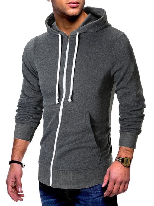 Fashion Casual Cardigan Zipper Color Block Hooded Men's Hoodies