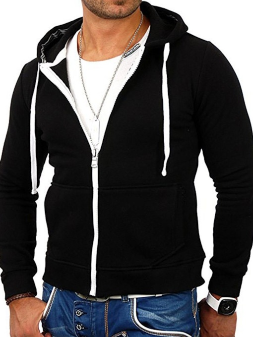 Cotton Blends Cardigan Color Block Zipper Spring Men's Hoodies