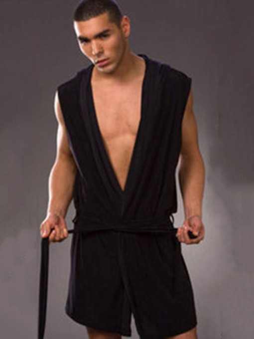 Hooded Sleeveless Plain Mid-Length Men's Robe