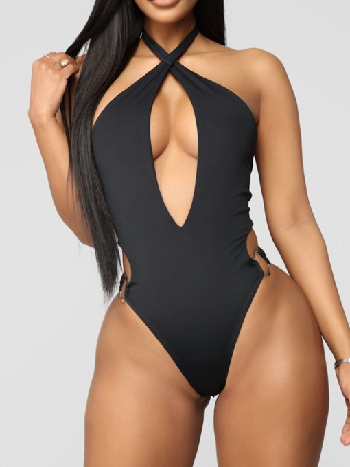 Beach Look One Piece Plain Women's Swimwear