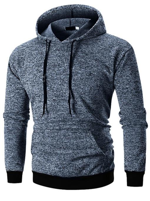 Solid Color Casual Fashion Color Block Pocket Pullover Slim Men's Hoodies
