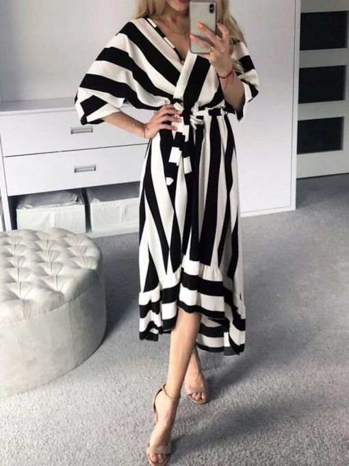 Asymmetric Half Sleeve V-Neck Stripe Women's Maxi Dress