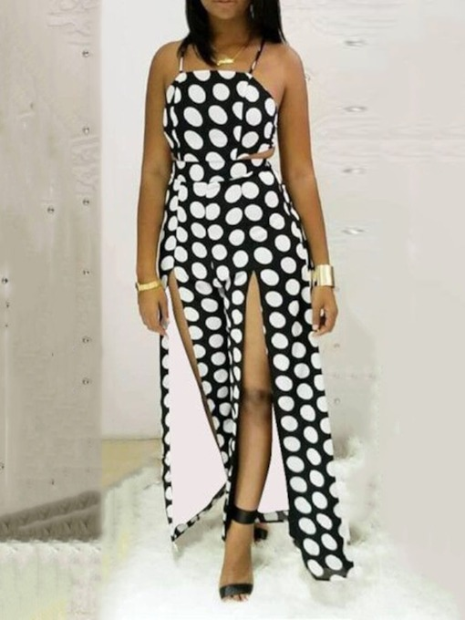 Polka Dots Strap Sexy Full Length Loose Women's Jumpsuit