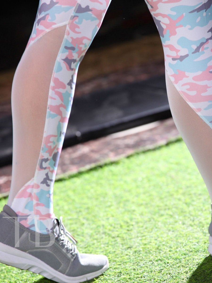 Camouflage Patchwork Breathable Women's Sports Set