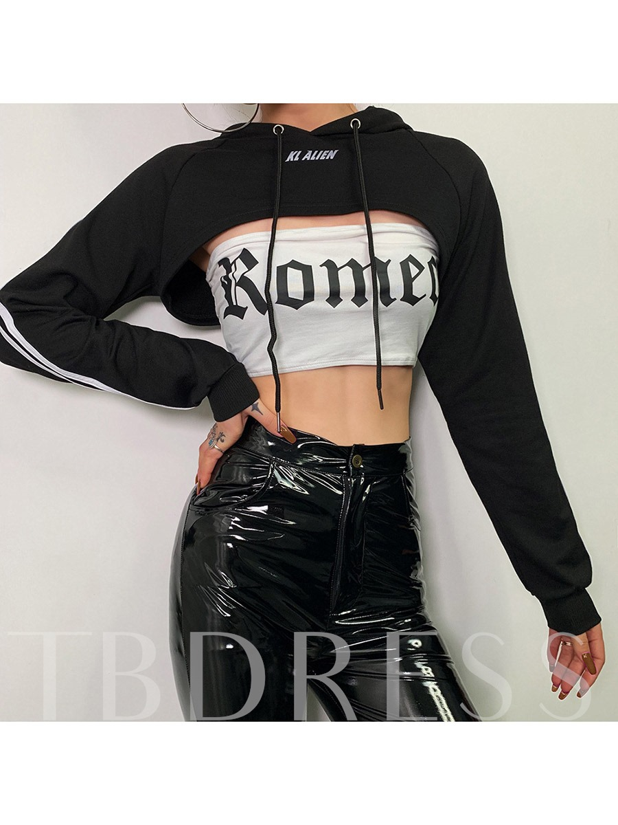 Women's Letter Long Sleeve Exposed Belly Hooded Sweater