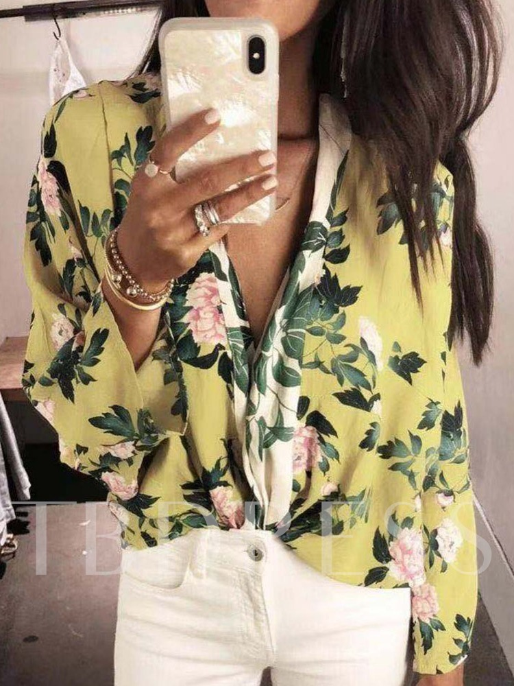 Floral Print Long Sleeve Casual Women's Blouse