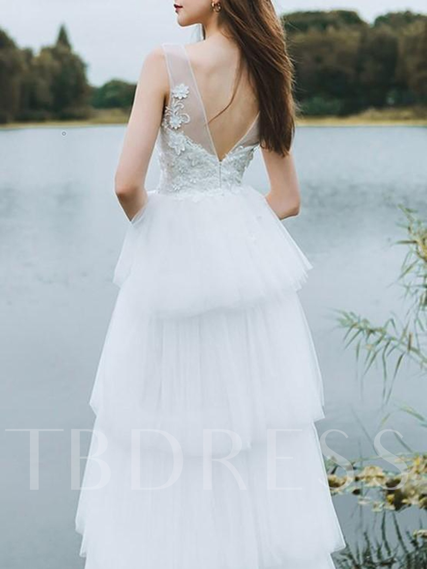 Tiered V-Neck Appliques Ball Gown Hall Wedding Dress 2019