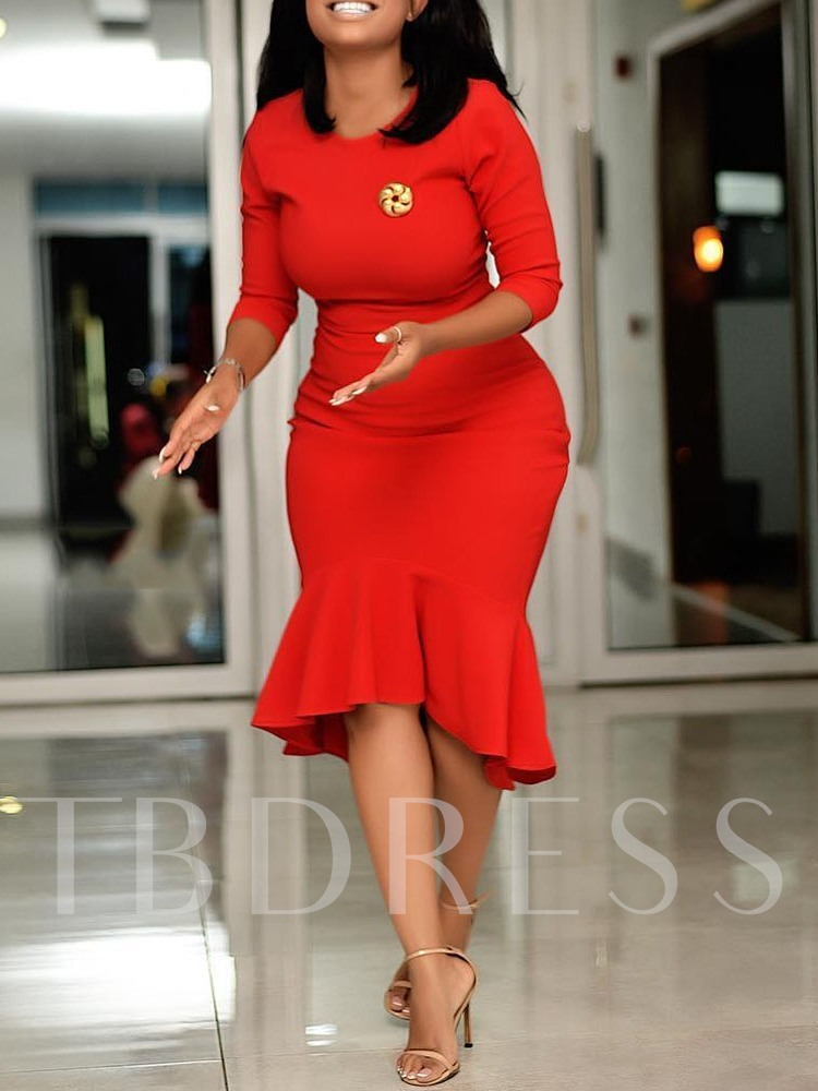 Three-Quarter Sleeve Round Neck Plain Women's Bodycon Dress