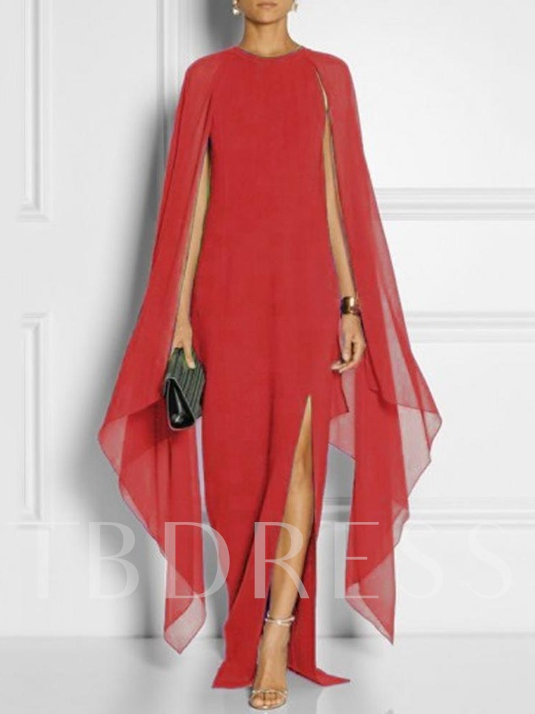 Asymmetric Round Neck Split Long Sleeve Women's Maxi Dress