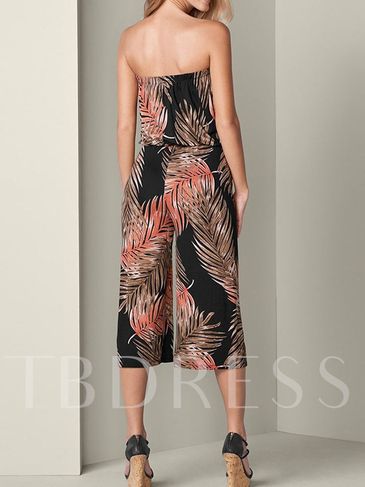 Plant Print Mid-Calf Travel Look Mid Waist Women's Jumpsuit