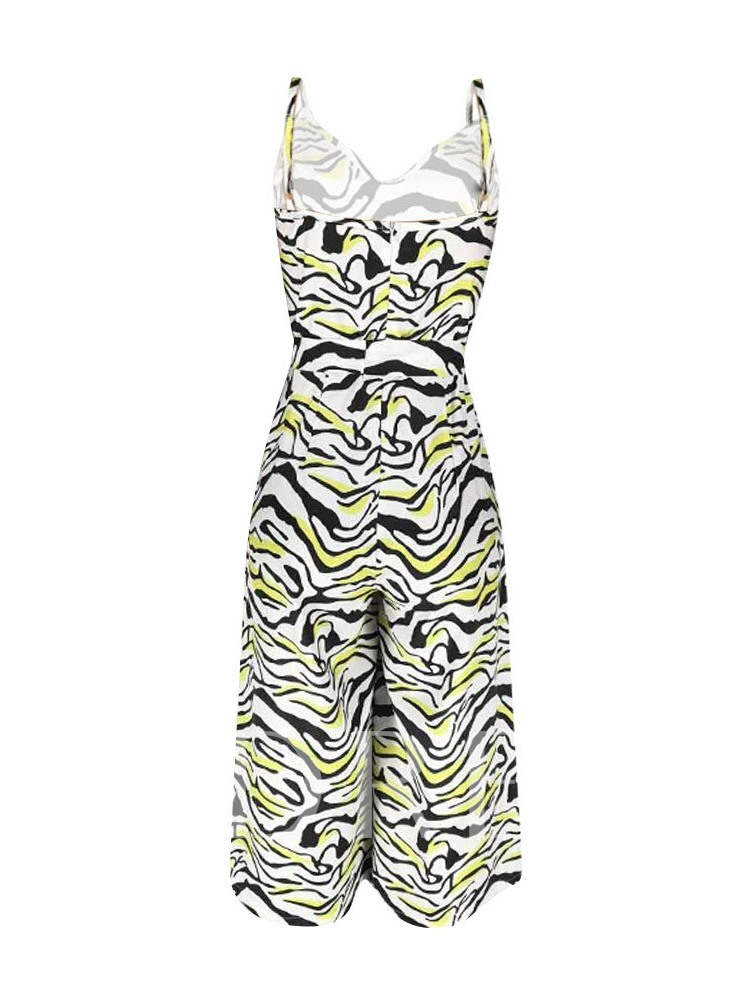 Mid-Calf Western Zebra Stripe Lace-Up Loose Women's Jumpsuit