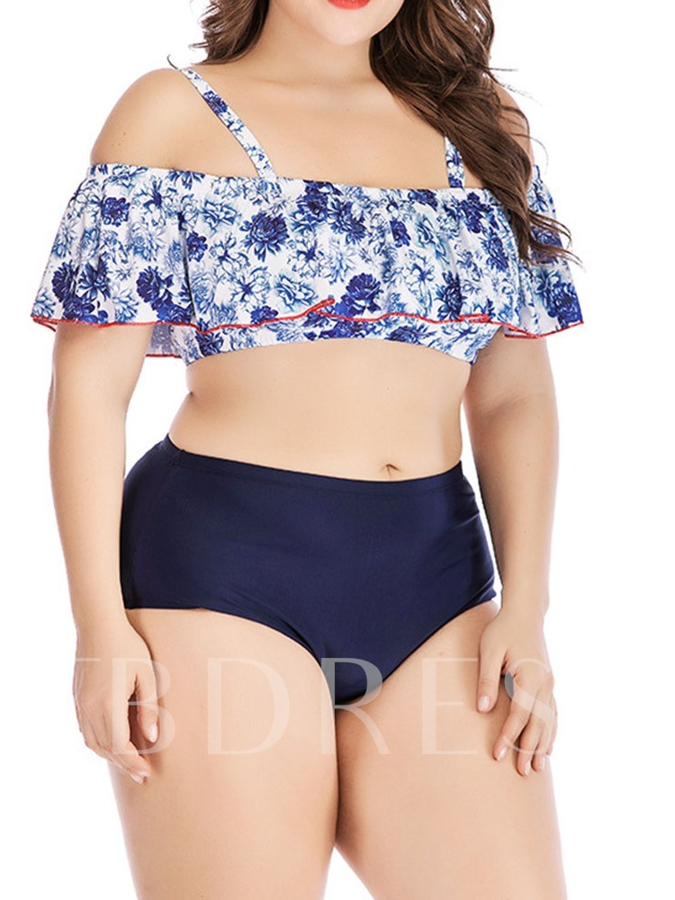 Plus Size Tankini Set Print Color Block Sexy Women's Swimwear