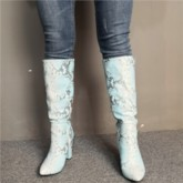 Customized Pointed Toe Side Zipper Serpentine Mid Calf Boots