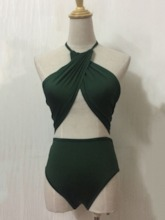 Pleated Sexy One Piece Plain Women's Swimwear