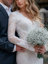 Long Sleeves V-Neck Appliques Lace Wedding Dress