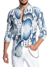 Casual Fashion Print Lapel Color Block European Print Single-Breasted Men's Shirt