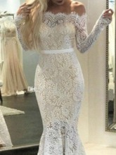 Long Sleeve Lace Off Shoulder Mid Waist Women's Maxi Dress
