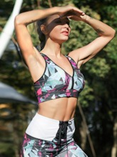 Color Block Polyester Breathable Print Sports Bra
