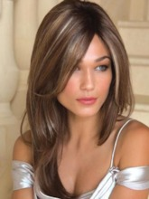 Natural Straight Women's Long Hairsytle Brown Synthetic Hair Capless Wigs 24Inches