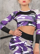 Color Block Breathable Print Women's Sports Top