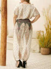 Plus Size Polka Dots Fashion Print Pants Knickerbockers Women's Two Piece Sets