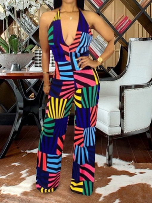 Western Print Color Block Full Length High Waist Women's Jumpsuit