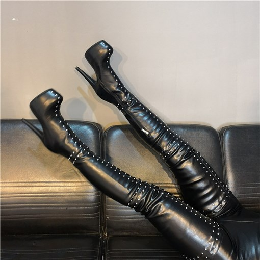 Customized Side Zipper Round Toe Rivet Sexy Thigh High Boots