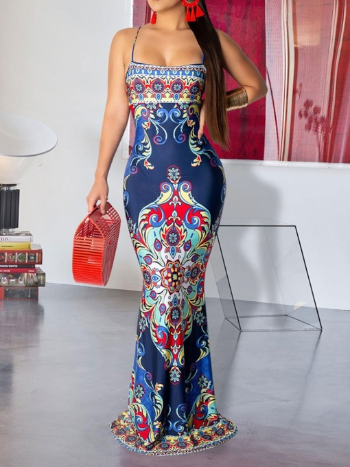 Sleeveless Spaghetti Strap Print Sexy Women's Maxi Dress