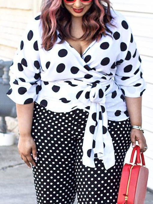 V-Neck Lace-Up Polka Dots Three-Quarter Sleeve Plus Size Women's Blouse
