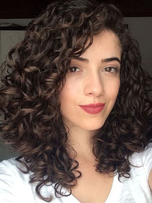 High Density Fashion Women's Curly 100% Human Hair Wigs Lace Front Wigs 20Inches