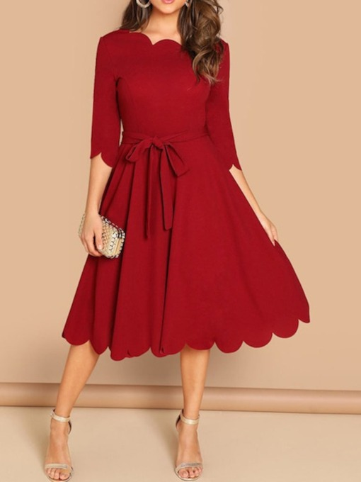 Plus Size Three-Quarter Sleeve Wave Cut Mid Waist Women's Dress