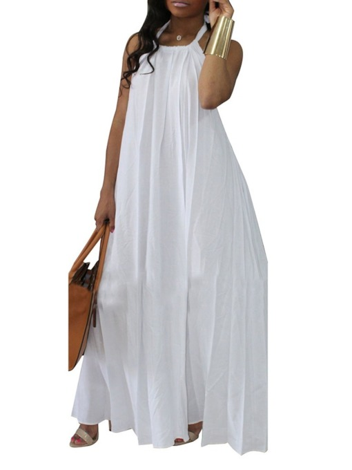 Sleeveless Floor-Length Backless Pullover Women's Maxi Dress