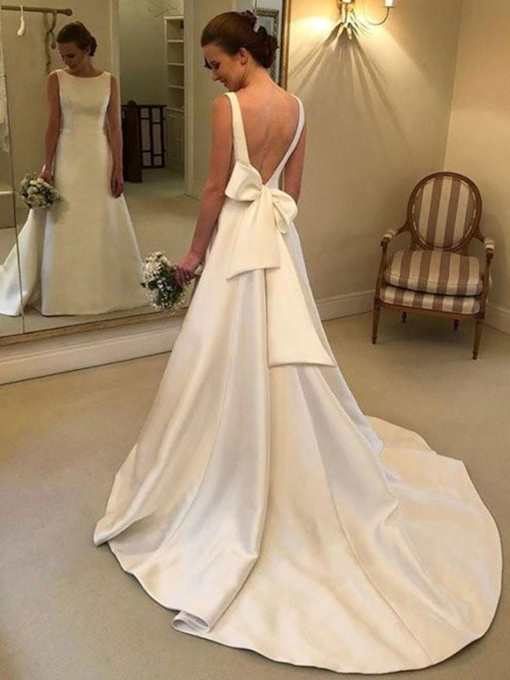 Bateau Neck Bowknot Backless Wedding Dress